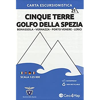 Carta escursionistica Cinque Terre Golfo della Spezia. Scala 1:25.000. Ediz. italiana, inglese, tedesca e francese