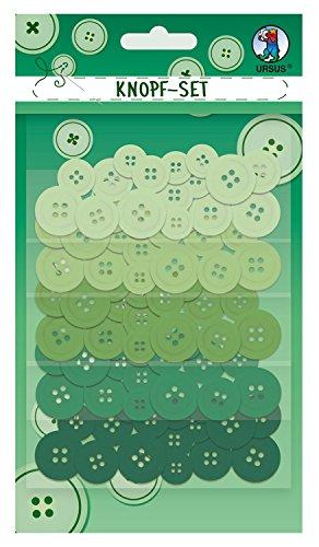 Ursus Knopfset grün, 80 Kunststoffknöpfe, sortiert in 5 verschiedenen Farben und 4 Größen