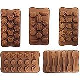 Ensemble de 5 Plateaux à Moules en Caoutchouc Siliconé par CurtzyTM pour Chocolat, Bonbons et Pâtisseries.