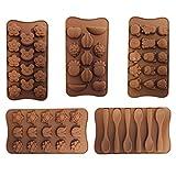 6er Set Flexible Pralinen Bonbon Eiswürfelschale aus Silikon zum Backen oder Einfrieren - Schale mit 90 Modellierförmchen von Kurtzy TM