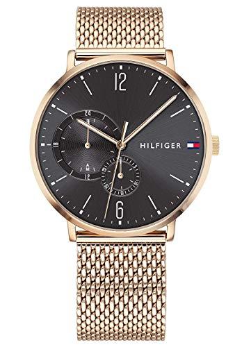 Tommy Hilfiger Herren Multi Zifferblatt Quarz Uhr mit Roségold Armband 1791506