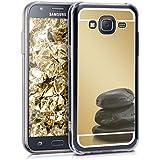 kwmobile Carcasa con espejo para Samsung Galaxy J5 (2015) TPU Case silicona Handy Cover, carcasa protectora en dorado reflectante