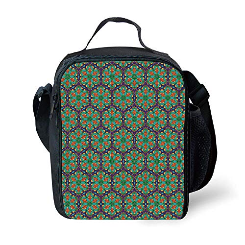 8772e8ab25 ZKHTO School Supplies Turquoise,Spider Web Inspired Floral Detailed Image  on Blue Backdrop,Fern