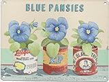 Blau Blumen Metall Wandschild Nostalgie Vintage Retro Werbung Emaille 400mm x 300mm