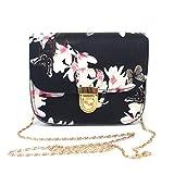 QinMM Frauen Schmetterling Blumendruck Handtasche Schultertasche Tote Messenger Bag Zipper Schultertasche Stilvolle Kleine Körper Geldbörse PU Taschen (Schwarz)