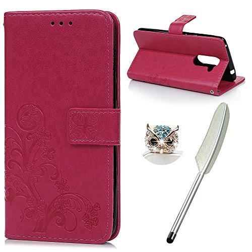 YOKIRIN Huawei Honor 6X Flip Hülle Huawei Honor 6X Wallet Case Bookstyle Flipcase Lederholster Schutzhülle PU Leder Handytasche Brieftasche Geldbörse Klapptasche Ständer Tasche Glücksklee Rose Rot