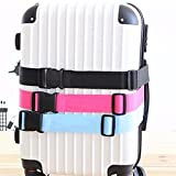 Fueerton Adjustable Suitcase Luggage Strap Travel Buckle Baggage Tie Down Belt Lock (Rose Red)