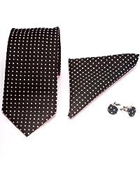 gadzo® Krawatten Set 3 er 8,5 cm Krawatte +Einstecktuch + Manschettenknöpfe 100 % Seide