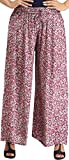 Exotic India Windsor-Wine Floral Printed Casual Palazzo Pants - Red