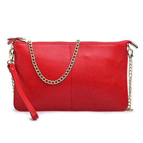 Echtes Leder Kleine Handtasche mit goldener Kette und Handschlaufe für Frauen-Damen-schwarze rote Geldbeutel-Minischulter-Beutel-Kreuz-Körper-Beutel (Handtasche Rote)