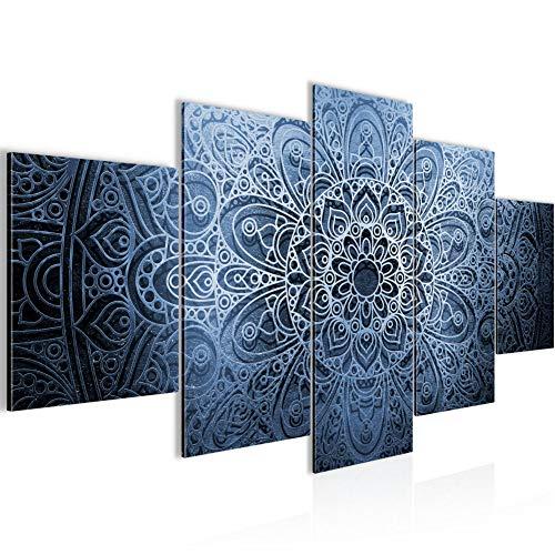 Photo Mandala Résumé Décoration Murale 200 x 100 cm Toison - Toile Taille XXL Salon Appartement Décoration Photos d'art Bleu 5 Parties - 100% MADE IN GERMANY - prêt à accrocher 101251b