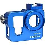 MENGS® carcasa de aluminio del marco protectora de la caja + 37mm Filtro UV para lente para GoPro Hero 3 –Azul