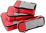 AmazonBasics Kleidertaschen-Set, 4-teilig, je 1 kleine, mittelgroße, große und schmale Packtasche, Rot