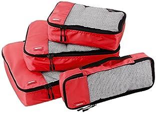 AmazonBasics Lot de 4 sacoches de rangement pour bagage Tailles S/M/L/Slim, Rouge (B014VBH9T8)   Amazon Products