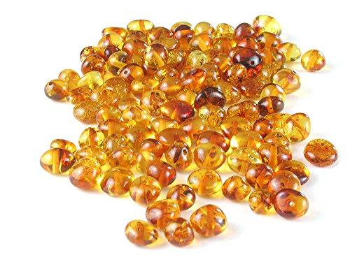 Honig Baltischer Bernstein Perlen Barock Medium (6–8mm) lose poliert gebohrt 10Gramm für Schmuckherstellung, Halsketten, - Perle-perlen-halsketten-bulk