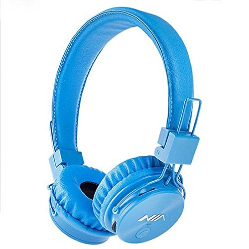 U-009 Foldable Wireless Bluetooth Earphone Headset with Microphone, Micro SD/TF Card, FM Radio,3.5mm Detachable Cable Stereo Hands-Free for Mobile Phone, Tablet, PC, Notebook, Gaming (Blue)