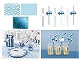 Feste Feiern Flugzeug Mottoparty | 13 Teile All In One Set Tischsets Strohhalm Konfetti Blau Junge Geburtstag Deko Party Happy Birthday