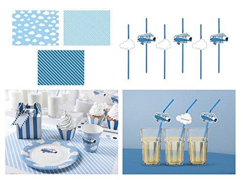 o Party Set Jungen Geburtstag | 13 Teile Thema Flugzeug in schönen Blautönen | happy birthday deko (2. Tischdeko Set) (Party Thema Für Jungen)