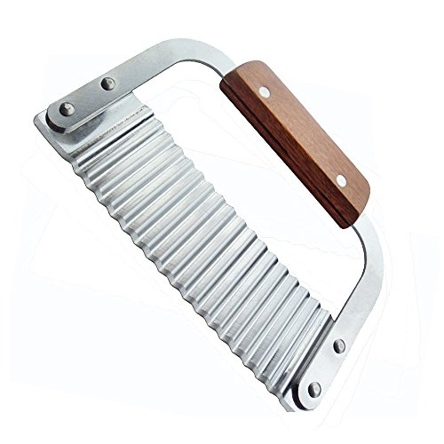 Cuchillo decorador ondulado,Cortador Ondulado Para Verduras,Hoja de acero inoxidable y mango de madera