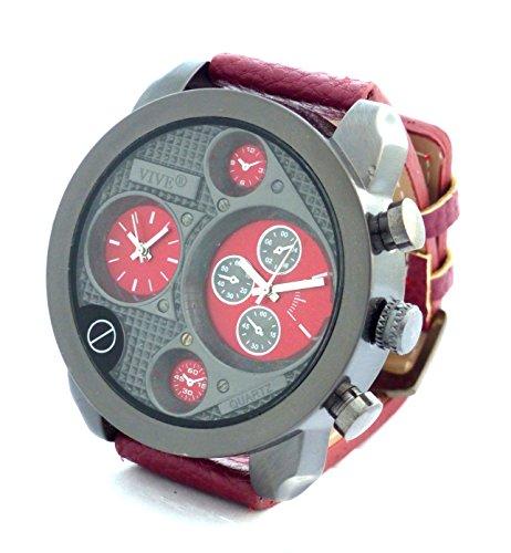 Banger Dualtime Red Black Chronograph for Men Double Temps Zwei Zonen Navigator Herrenuhr XL Atlas Modell mit 2 Uhrwerken Weltzeituhr Schwarz Silber mit Lederarmband Rote...