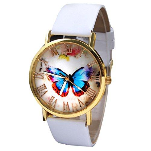 Armbanduhr Damen Uhr Xinnantime Mode Schmetterling Stil Leder Band Quarz Analoge Quarz Damenuhr Frauen 3 Farben (Standard, C)