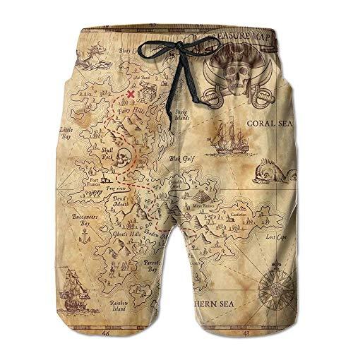 Fashion Super Detailed Treasure Hunt Map Grungy Rustic Pirate Golden Secret Summer Quick-Drying Swim Trunks Beach Shorts Board Shorts L Treasure Beach Pants