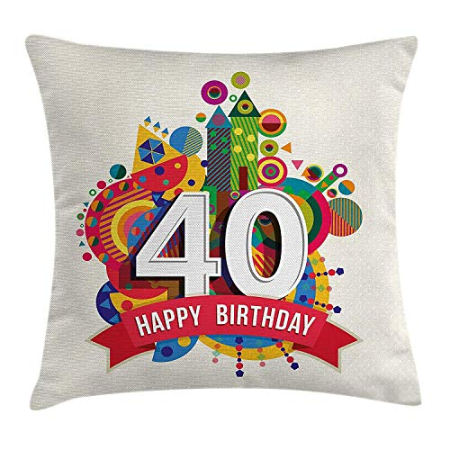 shizh Dekokissen Kissenbezug Niedliche süße Anzeige mit bunten Cartoon-Art-Zahlen Punkten und Fahnen-Druck Pillow Case 45x45 cm,Mehrfarbig