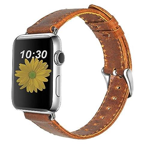 N. Oranie Apple Watch Band 42mm/38mm Cuir véritable iWatch Sangle rétro Crazy Horse Texture de remplacement Bracelet Sangle avec boucle en métal sécurisée pour Apple Watch Série 1et série 2Tous les modèles