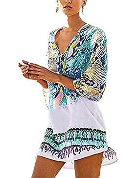 Vestito Donna,Kword Donne Estate Chiffon Floreale Spiaggia Bikini Cover-Up Top ,Copriscarpa Per Bikini In Pizzo...