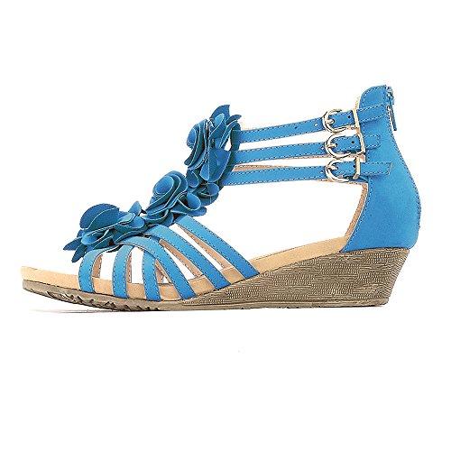 Alexis Leroy Sandales Femme Plateforme Compensées Fleurs Chaussures Bleu
