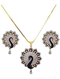 IGP Fashion Jewellery Gold Plated Chain With Fascinating Dancing Peacock Studded With CZ Pendant And Dazzling...