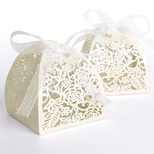 25pz. carta di bomboniera per confetti matrimonio comunione nascita - bianco avorio traforato, nastro