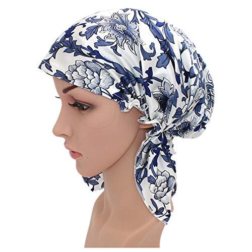 Jxth-wh Bequemer Nachtschlaf-Hut Silk Schlaf-Nachtkappe-Blumendruckmuster für Haar-Schönheit justierbare elastische Band-Mütze für Frauen Haube für Frauen (Farbe : Blau, Größe : 50cm) -
