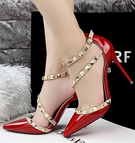 Minetom Partei Frühjahr Sommer Herbst Mode Damen Wies High Heels Niet Rotation Gürtelschnalle Stöckelschuhen Die Füße Schuhe Pumps Rot