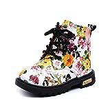 Botas de Nieve de Niñas Más Terciopelo de PU Zapatos de Bebé Imprimiendo Botines Calentar Acogedor Niñas Botines Infantiles Suela de Goma Primeros Pasos Zapatos (27, Negro)