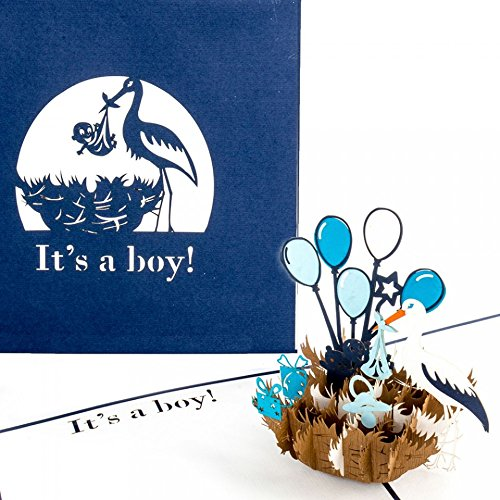 3D Birth Card Baby Boy - Pop Up Greeting & Congratulations Cards for the first birthday as little gift, voucher - Pop Up Geburtskarte in Englisch - English New Baby Born surprise Card for Birthday Boy