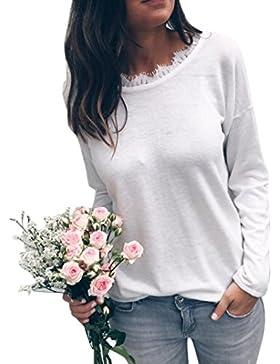 Ansenesna Las Mujeres de Moda de Encaje de Manga Larga Blusa de Mangas Sueltas Ropa Camiseta