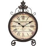 @Home Roman Metal and Plastic Table Clock (19.99 cm x 5.01 cm x 30 cm, Brown)