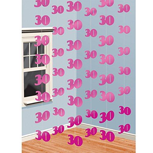 PINK 6 X Hänge Dekoration 30. Geburtstag Girlanden -