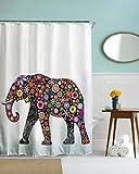 HROOME Wasserdichter Duschvorhänge Anti Schimmel 180x180cm Bunter Elefantdruck Badezimmer Duschvorhang Set Mit 12 Haken 150X180cm (180*200CM, Elephant-3)