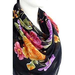 Schwarz Elegant Schal Weiche Baumwolle Große Quadratische Blumendruck Kopftücher Halstücher 96 x 96 cm.