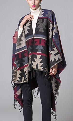 Beunique Femme Poncho Tricot avec Frange Cape Tartan Style Ouverture Echarpe Châle Automne Hiver Couleur 4