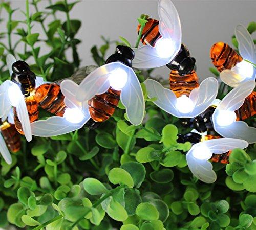 Honigbiene Schnur Lichter Außen,KINGCOO Wasserdicht 30 Led Bumble Bee Form Solarbetriebene Lichterkette String Lichter für Garten Sommer Party Hochzeit Weihnachten Dekoration (Weiß) -