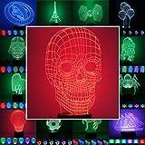 3D Lampe 3D Leuchte 3D LED Stimmungslicht. 7 Farben - 81 verschiedene Motive, hier Totenkopf 2 ca. 24x14cm inkl. Sockel - 3D Illusion Dekolicht mit USB Anschluß und 220V USB Netzteil