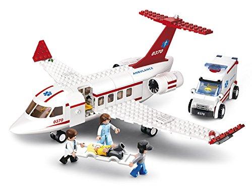 Funstones Bausteine Set Mini - Erste Hilfe Flugzeug + Figuren + Trage + Krankenwagen Fahrzeug - Bau Steine