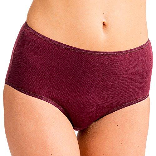 HERMKO 1150 4er Pack Damen Maxi-Slip mit elastischen Abschlüssen aus 100% Baumwolle Bordeaux