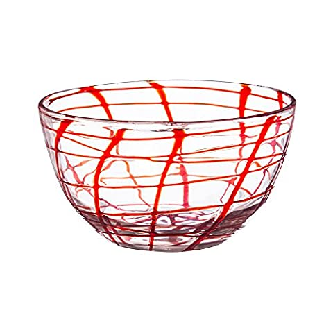 Cypress Home Red Confetti Glass Serving Bowl