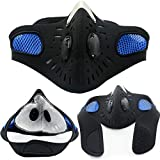 Zuionk Bicycle Motorcycle Ski Cycling Anti-Pollution Face Mask Outdoor Sports Mouth-Muffle Dustproof Filter Blue MP3-Player