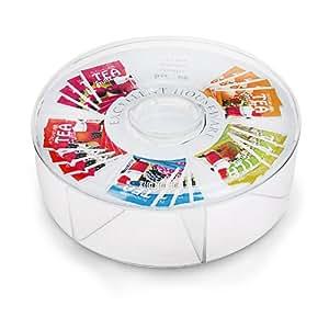 Boîte à sachets de thé ronde avec 6 compartiments