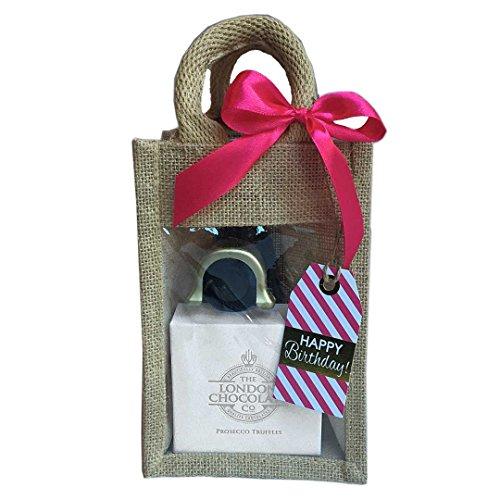 Mini Prosecco Birthday Treat Bag: Prosecco, Prosecco chocolate truffles and a Gold Prosecco Stopper packaged in a cute Jute bag